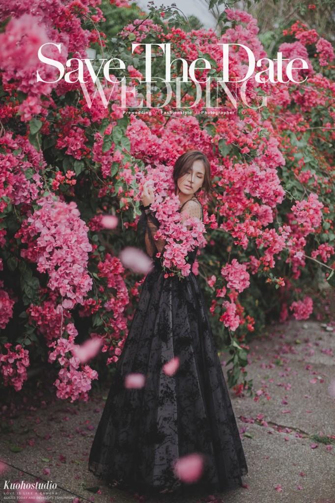 台中自助婚紗,台北自助婚紗,婚紗攝影,雜誌風婚紗,花叢婚紗,黑色禮服,台灣婚紗攝影,台中婚攝,台北婚攝,郭賀影像,全球旅拍,VVK WEDDING